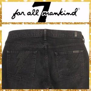 7 For All Mankind RARE Lightning Bolt Black Jeans